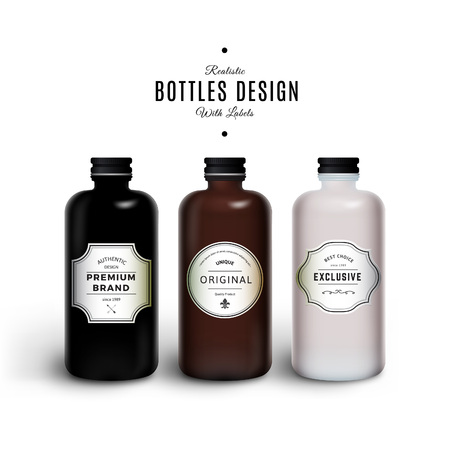Realistic Black, Brown and White Bottles with Vintage Labels. Product Packaging Design. Plastic Container Mock Up.