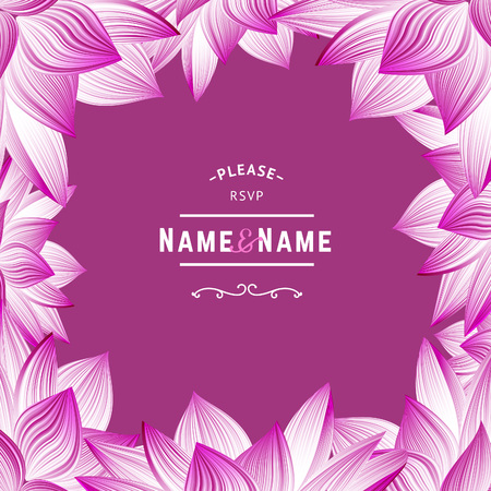 rsvp: RSVP Wedding Invitation with Flowers.  Greeting Card with Floral Frame. Lotus Flower Borders. Illustration