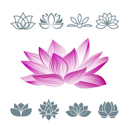 La flor de loto de conjunto de iconos. Símbolo floral oriental aislado en blanco. Siluetas Concepto para centros de spa, clases de yoga, etc. Ilustración de vector