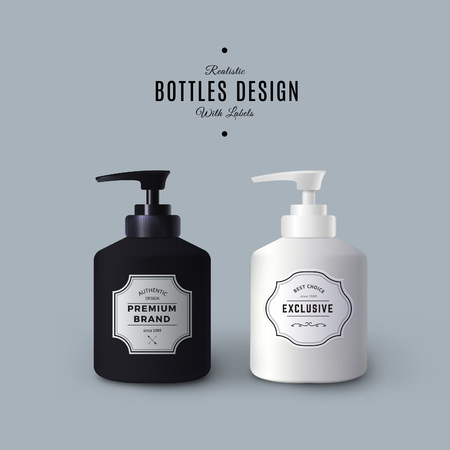Realistic Black and White Liquid Soap Dispensers. Bottles with Vintage Labels. Product Packaging Design. Plastic Container Mock Up. Illustration