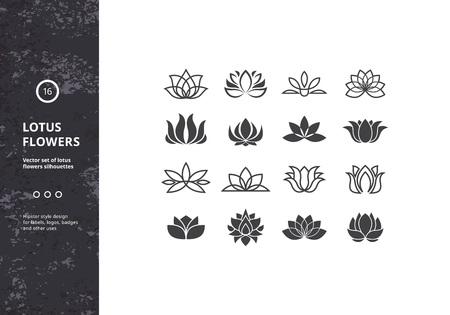 Kwiat lotosu Ikony. Zestaw szablonów wodne Kształty Lily. Wzory hipster do etykiet, odznak Ilustracje wektorowe