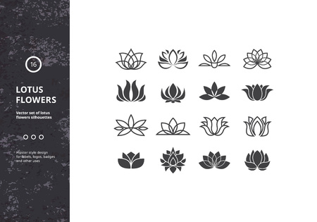Lotus Flower Icons. Set of Template Water Lily Shapes. Hipster Designs for Labels, Badges Vettoriali