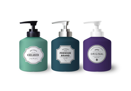 Realistic Colorful Liquid Soap Dispensers. Bottles with Vintage Labels. Product Packaging Design. Containers with Black and White Plastic and Silver Metal Bottle Cap Mock Up. Illustration