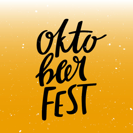 oktober: Oktober Fest Lettering on Stylized Beer Background. Vector Design Concept for Banners, Posters and Cards.