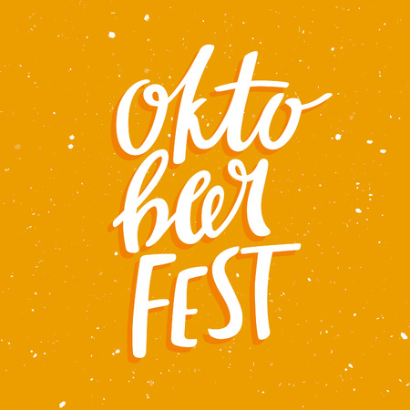 beer stein: Oktobeerfest Poster Concept. Vector Hand Drawn Illustration. White Lettering on Yellow Beer Background. Modern Design Idea for Oktoberfest Banners and Posters.