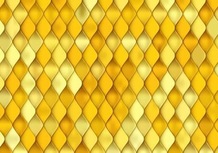 Texture d'écailles de poisson d'or. Vector fond doré avec peau de reptile jaune.