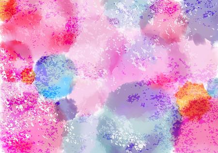 Helles Pastellfarbenes Bg mit Aquarellfarbenspritzern. Vektor-Grunge-Farben-Hintergrund-Konzept für Holi-Festival
