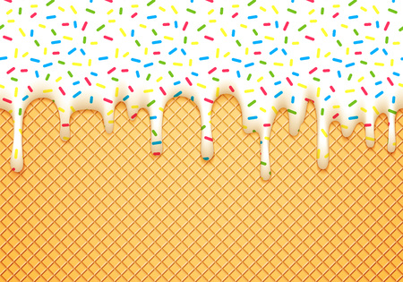 Ice Cream Cone Vector Illustration with Dripping White Glaze and Wafer Texture. Abstract Food Background. Sweet Seamless Pattern.