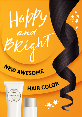 Bright Design Concept for Hair Care Product Packaging. Vector Illustration of Realistic Brown Curly Hair and White Plastic Bottle for Cosmetic on Yellow Background