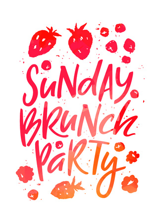 Creative Poster for Sunday Brunch Party. Hand Drawn Fruits and Berries in Isolated on White. Vector Template Silhouettes in Red, Pink and Orange Colors
