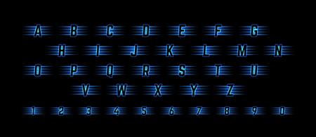 Blue Neon Light Alphabet with Numbers. Shiny Symbols for Logos, Icons, Competition Banners and Posters.
