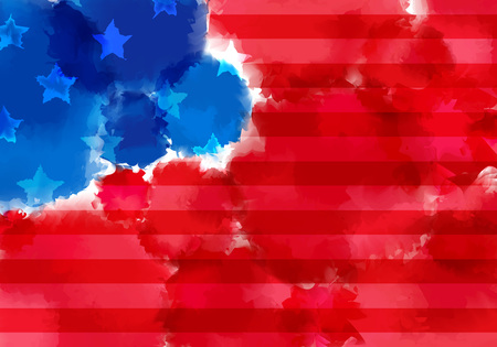 Colorful Banner with Watercolor Splash. Abstract American Flag Texture. Red and Blue Colored Banner Design Çizim
