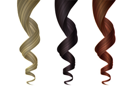 Set of Various Colored Wavy Strands of Hair. Vector Realistic 3d Illustration. Design Element for Hairdressers, Beauty Salons, Hair Care Cosmetics, Shampoo, Conditioner or Hair Dye Packaging 일러스트