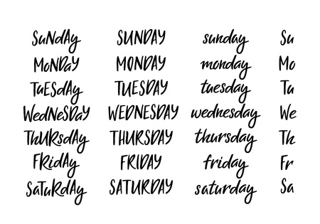 Set of Hand Drawn Week Days in Different Letter Case. Vector Handwritten Lettering for Calendars, Planners or Invitations