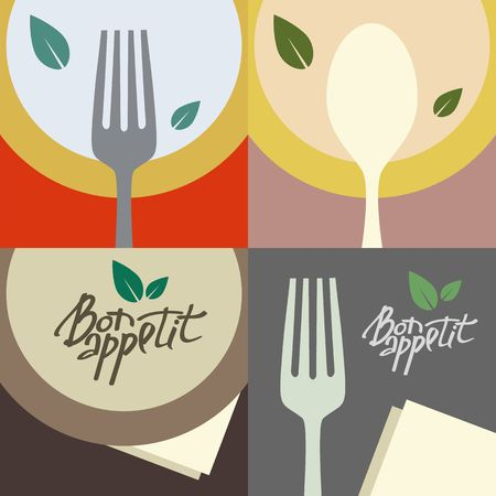 Vector Banner in Flat Style for Restaurant, Cafe and Bistro. Colorful Backgrounds with Cutlery and Dish. Stock Illustratie
