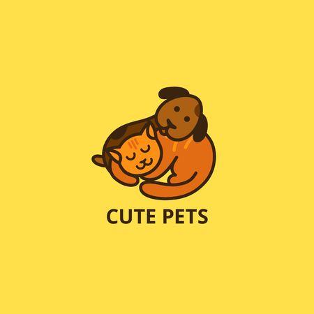 Cute Cartoon Cat and Dog Logo. Sleepy Pets Vector Icon. Little Puppy and Kitten Sleep Illustration.