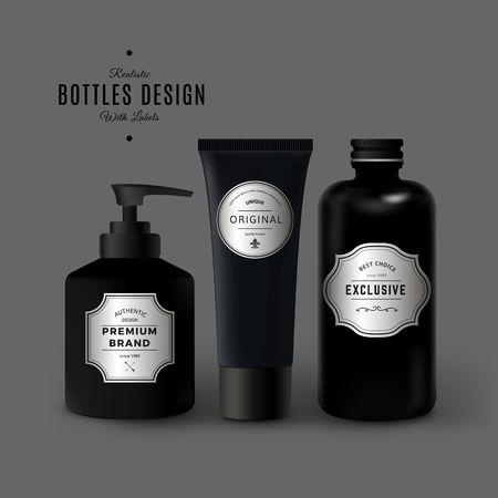 어두운 현실적인 화장품 플라스틱 병 세트입니다. 빈티지 라벨이 있는 제품 포장 디자인. 검은 색 플라스틱 용기 모의 벡터 (일러스트)