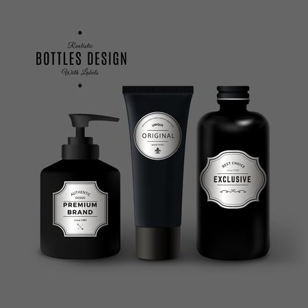 Dark Realistic Cosmetic Plastic Bottles Set. Product Packaging Design with Vintage Labels. Black Plastic Container Mock Up Vetores