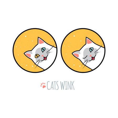 Siamese Cat Wink and Smile. Vector Animal Illustration. Logo Concept for Kitten Food, Animal Shelters or Vet Clinics