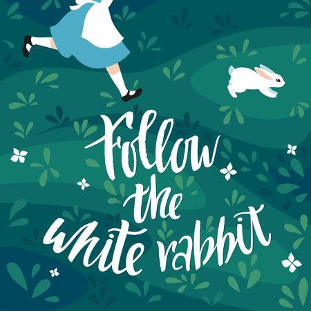 Segui l'illustrazione vettoriale del coniglio bianco. La ragazza corre dietro al coniglio. Frase scritta a mano. Stampa per biglietti di Pasqua, poster e striscioni.