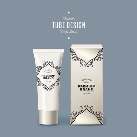 Realistic White Vector Tube and Box Packing with Vintage Labels. Product Packaging Design. Plastic Container Mock Up