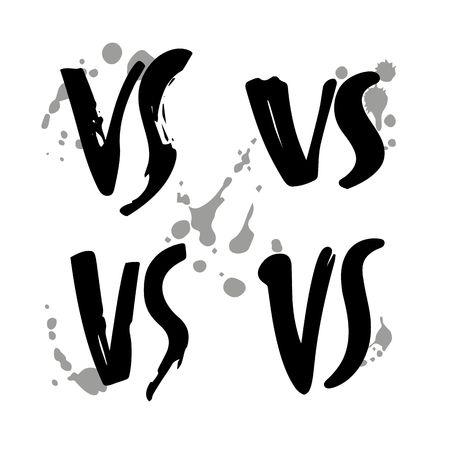 Grunge Hand Drawn Versus Logo Set. VS Vector Letters Illustration. Competition Symbol.