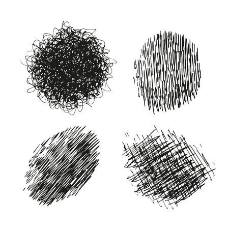 Tangled Line Textured Backgrounds. Vector Hand Drawn Grunge Graphic Design Elements. Vettoriali