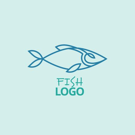 Minimalist Vector Logo of Blue Fish. Symbol for Seafood Restaurants, Fishing Markets or Asian Street Foods