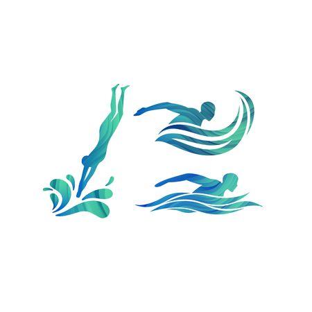 Sylwetki wektor pływaków. Koncepcja logo basenów, ikona konkursów i symbol szkoły pływania. Logo
