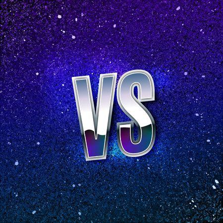 Retro Styled Metallic Versus Logo. VS Vector Letters on Blue Cosmic Space. Battle Icon Illustration