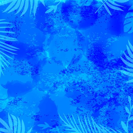 Template Blue Illustration of Sea Bottom with Palm Leaves. Vector Summer Holidays Background. Turquoise Underwater Pattern with Frame.