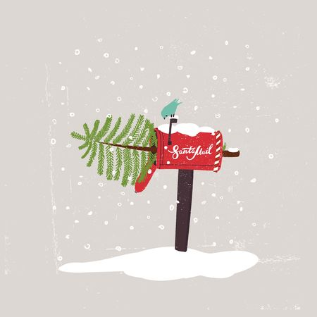 Comic Christmas Illustration. The Christmas tree in the Mailbox and the Bird. Vector Idea for Festive Postcard, Invitation, Poster or Delivery Service Advertising.