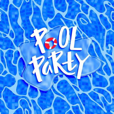 Pool Party Funny Poster with Pool Bottom Texture and Hand Writing Headline Text. Vector Holiday Illustration. Water Ripple Pattern Illustration