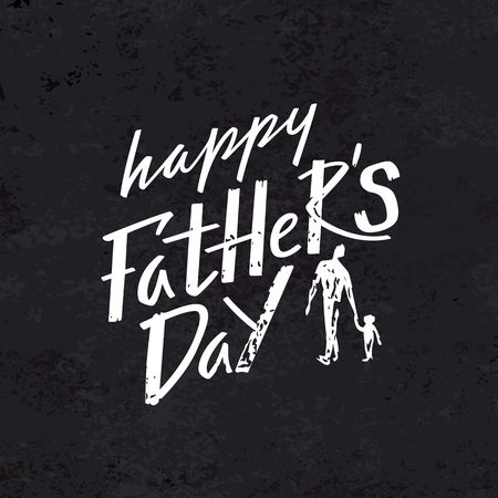Happy Father's Day Celebration Card Concept. Vector Grunge Illustration with Handwritten Text and Abstract Silhouettes of Dad and Son