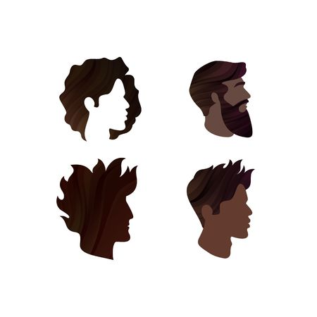 Set of Mens Profiles. Vector Male Hairstyles. Template Face Silhouettes. Abstract Logo Concept Illustration
