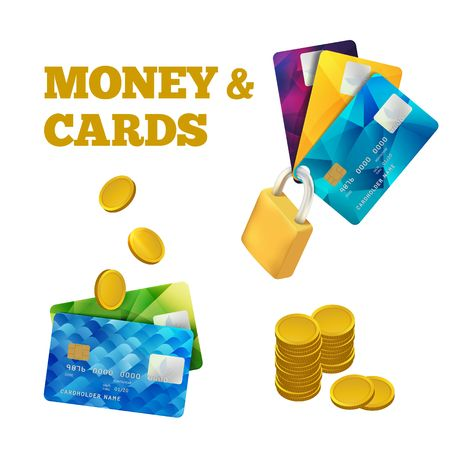 Set of Colorful Credit Cards Isolated on White. Vector Illustration . Cashless Payment Icon. Gold Coins Logo. Logo