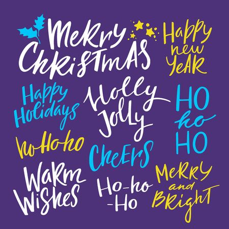vector set of calligraphy phrases for christmas and new year