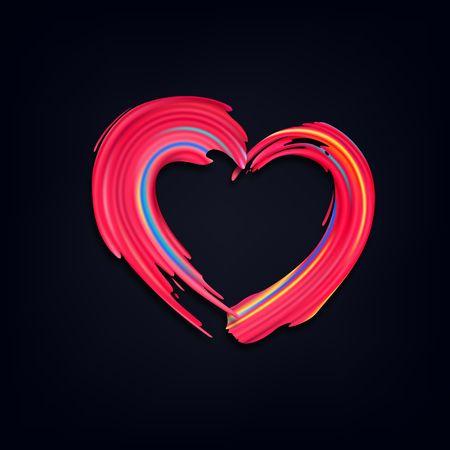 Coups de pinceau rose. Forme de vecteur grunge de coeur. Concept de fond pour la Saint-Valentin, l'amour et les mariages