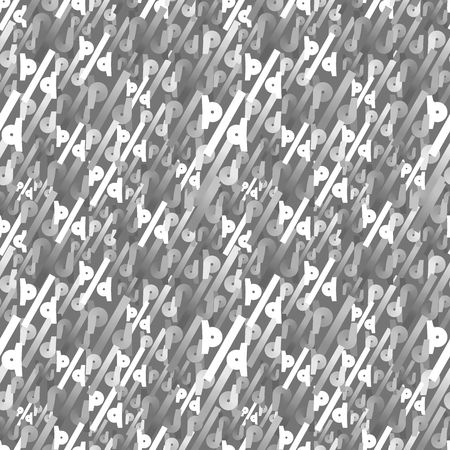 Abstract Gray Seamless Pattern. Vector Random Texture with Symbols. Monochrome Gradient Background.