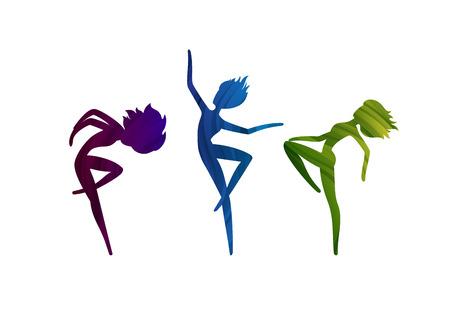 Three Dancing Girls in Vector. Colored Feminine Silhouette. Dance Studio Logo Design Concept