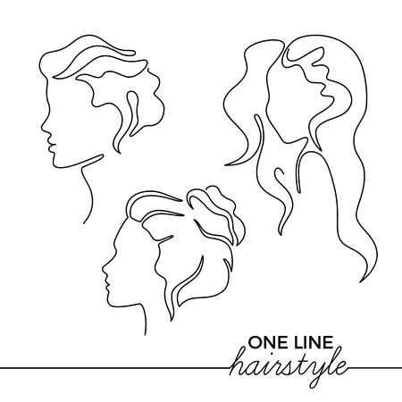 Continuous Line Illustration with Female Profiles and Hairstyles. Minimalist Art. Vector Logo Template