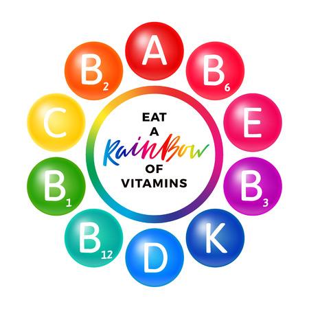 Concepto creativo de color arco iris con vitaminas. Ilustración brillante con letras. Conjunto de iconos vectoriales aislado en blanco