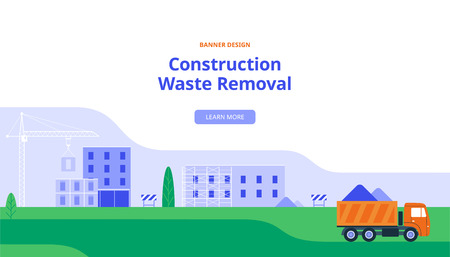 A Large Truck Takes Out Construction Debris. Vector Illustration in Flat Style. Banner with Industrial Construction Ilustração