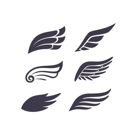 Skrzydła sylwetki wektor zestaw. Stylizowane elementy do projektów logo, etykiet i odznak