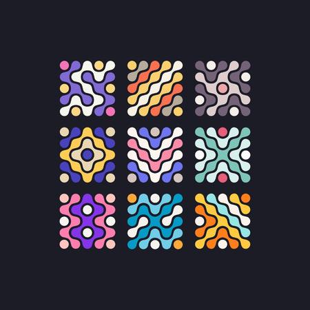 Conjunto de formas coloridas de vectores abstractos con combinación de colores creativos. Símbolos de plantilla para logotipo e iconos Logos