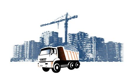 Eliminación de residuos de construcción del sitio de construcción por camión grande. Ilustración de vector en estilo grabado