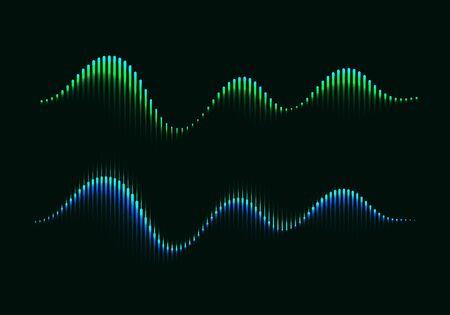 Two Colorful Modern Equalizers. Aurora Borealis Vector Illustration. Music Waves Concept Symbols. Ilustrace