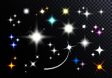 Satz funkelnde und funkelnde Sterne. Vektor-glänzend schillernde Lichtstrahlen. Transparenter heller Blitz