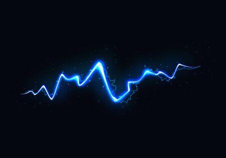 Vector Illustration of Abstract Blue Lightning on Black Background. Power Energy Charge Thunder Shock