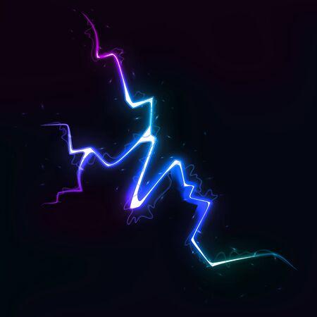 Vector Illustration of Colorful Lightning Discharge on Dark Background. Blitz Lightning Thunder Light Sparks